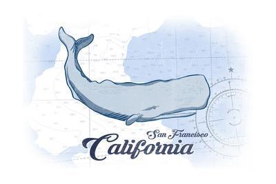 San Francisco, California - Whale - Blue - Coastal Icon-Lantern Press-Framed Art Print