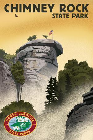 Chimney Rock State Park, North Carolina - Lithograph - 100th Anniversary-Lantern Press-Framed Art Print
