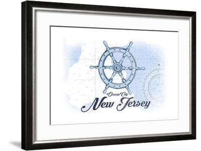 Ocean City, New Jersey - Ship Wheel - Blue - Coastal Icon-Lantern Press-Framed Art Print