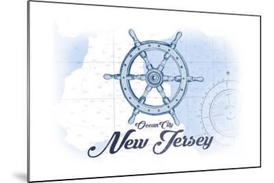 Ocean City, New Jersey - Ship Wheel - Blue - Coastal Icon-Lantern Press-Mounted Art Print
