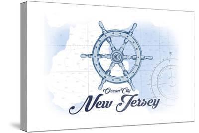 Ocean City, New Jersey - Ship Wheel - Blue - Coastal Icon-Lantern Press-Stretched Canvas Print