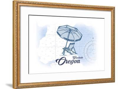 Yachats, Oregon - Beach Chair and Umbrella - Blue - Coastal Icon-Lantern Press-Framed Art Print