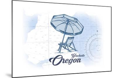Yachats, Oregon - Beach Chair and Umbrella - Blue - Coastal Icon-Lantern Press-Mounted Art Print