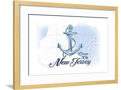 Ocean City, New Jersey - Anchor - Blue - Coastal Icon-Lantern Press-Framed Art Print