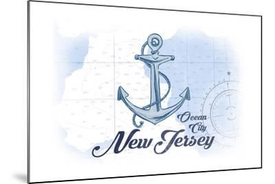 Ocean City, New Jersey - Anchor - Blue - Coastal Icon-Lantern Press-Mounted Art Print