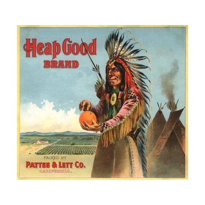 Heap Good Brand - California - Citrus Crate Label-Lantern Press-Framed Art Print