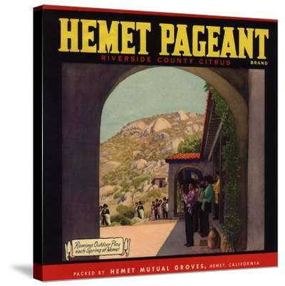 Hemet Pageant Brand - Hemet, California - Citrus Crate Label-Lantern Press-Stretched Canvas Print