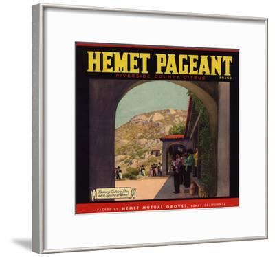Hemet Pageant Brand - Hemet, California - Citrus Crate Label-Lantern Press-Framed Art Print