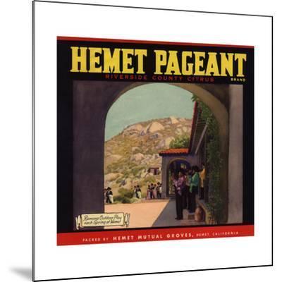 Hemet Pageant Brand - Hemet, California - Citrus Crate Label-Lantern Press-Mounted Art Print