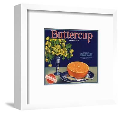 Buttercup Brand - Whittier, California - Citrus Crate Label-Lantern Press-Framed Art Print