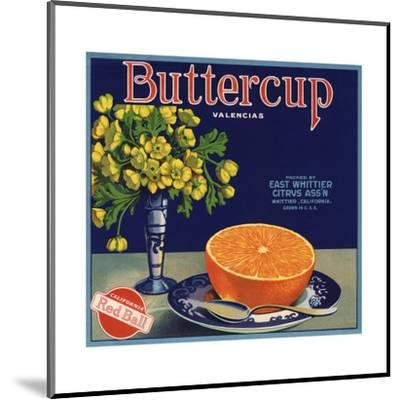 Buttercup Brand - Whittier, California - Citrus Crate Label-Lantern Press-Mounted Art Print