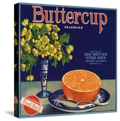 Buttercup Brand - Whittier, California - Citrus Crate Label-Lantern Press-Stretched Canvas Print