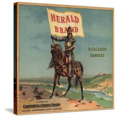 Herald Brand - Redlands, California - Citrus Crate Label-Lantern Press-Stretched Canvas Print