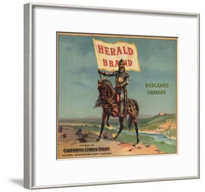 Herald Brand - Redlands, California - Citrus Crate Label-Lantern Press-Framed Art Print