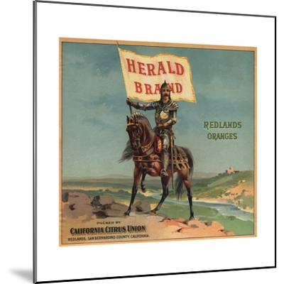 Herald Brand - Redlands, California - Citrus Crate Label-Lantern Press-Mounted Art Print