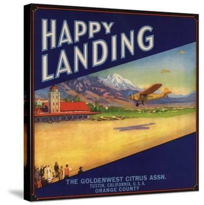 Happy Landing Brand - Tustin, California - Citrus Crate Label-Lantern Press-Stretched Canvas Print
