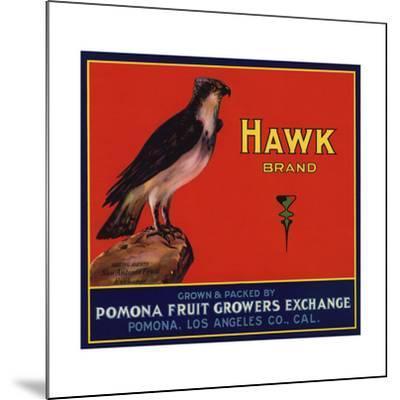 Hawk Brand - Pomona, California - Citrus Crate Label-Lantern Press-Mounted Art Print