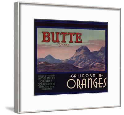 Butte Brand - Hamilton City, California - Citrus Crate Label-Lantern Press-Framed Art Print