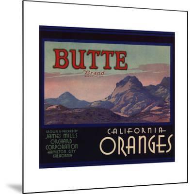 Butte Brand - Hamilton City, California - Citrus Crate Label-Lantern Press-Mounted Art Print