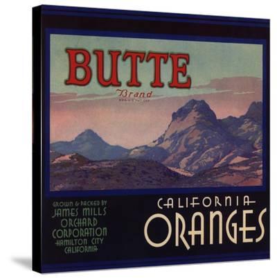 Butte Brand - Hamilton City, California - Citrus Crate Label-Lantern Press-Stretched Canvas Print