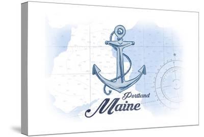 Portland, Maine - Anchor - Blue - Coastal Icon-Lantern Press-Stretched Canvas Print