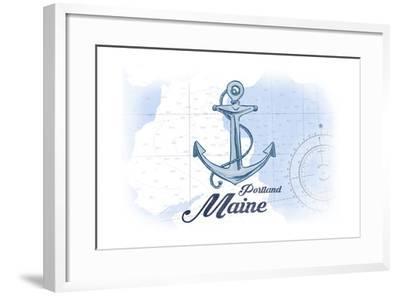 Portland, Maine - Anchor - Blue - Coastal Icon-Lantern Press-Framed Art Print