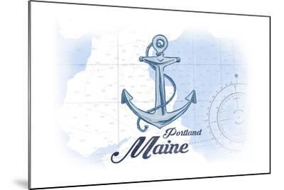 Portland, Maine - Anchor - Blue - Coastal Icon-Lantern Press-Mounted Art Print
