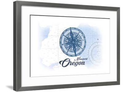 Newport, Oregon - Compass - Blue - Coastal Icon-Lantern Press-Framed Art Print
