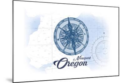 Newport, Oregon - Compass - Blue - Coastal Icon-Lantern Press-Mounted Art Print