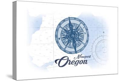 Newport, Oregon - Compass - Blue - Coastal Icon-Lantern Press-Stretched Canvas Print