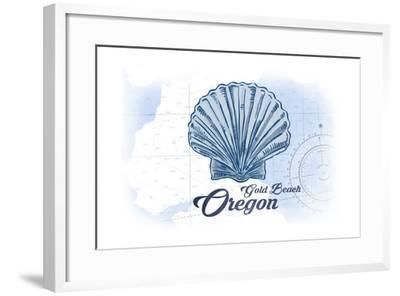Gold Beach, Oregon - Scallop Shell - Blue - Coastal Icon-Lantern Press-Framed Art Print