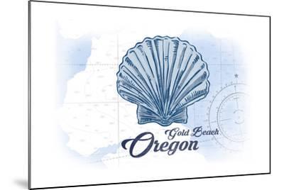 Gold Beach, Oregon - Scallop Shell - Blue - Coastal Icon-Lantern Press-Mounted Art Print