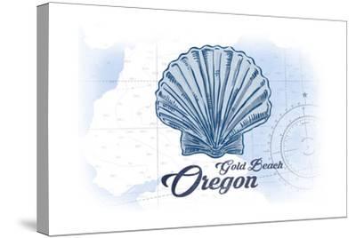 Gold Beach, Oregon - Scallop Shell - Blue - Coastal Icon-Lantern Press-Stretched Canvas Print