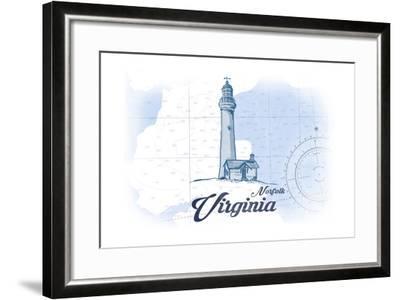 Norfolk, Virginia - Lighthouse - Blue - Coastal Icon-Lantern Press-Framed Art Print