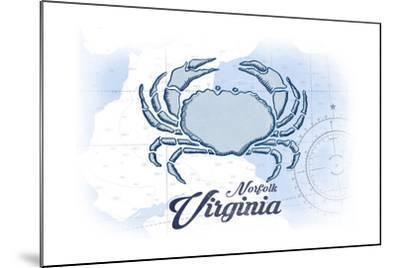 Norfolk, Virginia - Crab - Blue - Coastal Icon-Lantern Press-Mounted Art Print