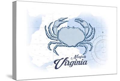 Norfolk, Virginia - Crab - Blue - Coastal Icon-Lantern Press-Stretched Canvas Print