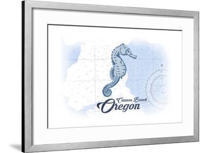 Cannon Beach, Oregon - Seahorse - Blue - Coastal Icon-Lantern Press-Framed Art Print