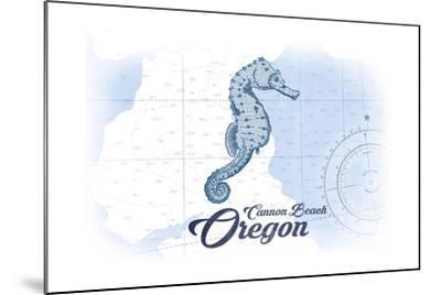 Cannon Beach, Oregon - Seahorse - Blue - Coastal Icon-Lantern Press-Mounted Art Print