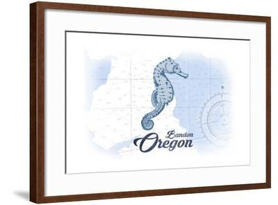 Bandon, Oregon - Seahorse - Blue - Coastal Icon-Lantern Press-Framed Art Print