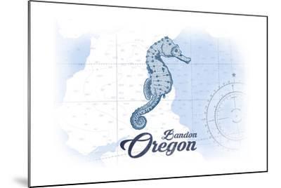 Bandon, Oregon - Seahorse - Blue - Coastal Icon-Lantern Press-Mounted Art Print