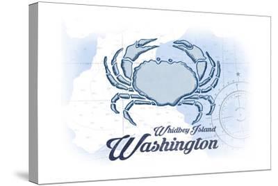 Whidbey Island, Washington - Crab - Blue - Coastal Icon-Lantern Press-Stretched Canvas Print