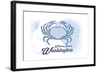 Whidbey Island, Washington - Crab - Blue - Coastal Icon-Lantern Press-Framed Art Print
