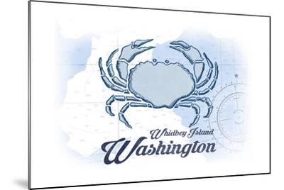 Whidbey Island, Washington - Crab - Blue - Coastal Icon-Lantern Press-Mounted Art Print