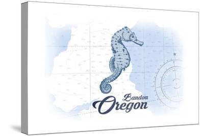 Bandon, Oregon - Seahorse - Blue - Coastal Icon-Lantern Press-Stretched Canvas Print