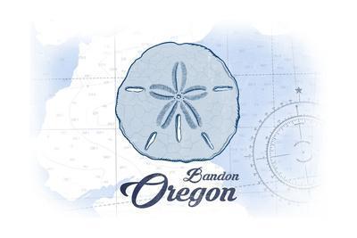 Bandon, Oregon - Sand Dollar - Blue - Coastal Icon-Lantern Press-Framed Art Print