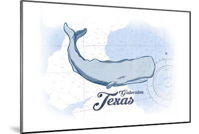 Galveston, Texas - Whale - Blue - Coastal Icon-Lantern Press-Mounted Art Print