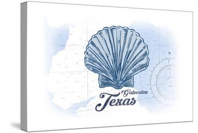 Galveston, Texas - Scallop Shell - Blue - Coastal Icon-Lantern Press-Stretched Canvas Print