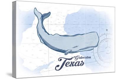 Galveston, Texas - Whale - Blue - Coastal Icon-Lantern Press-Stretched Canvas Print