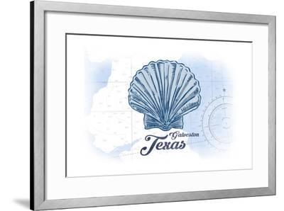 Galveston, Texas - Scallop Shell - Blue - Coastal Icon-Lantern Press-Framed Art Print
