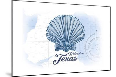 Galveston, Texas - Scallop Shell - Blue - Coastal Icon-Lantern Press-Mounted Art Print